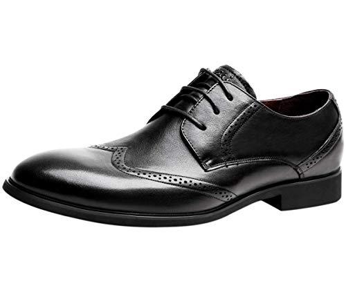 Zapatos de Vestir Piel Derby, Wing Brogue Zapatos de Cordones Oxford Hombre Negro Marrón 38 EU