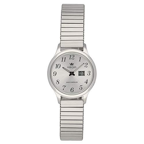 MARQUIS Damen Armbanduhr Funkuhr Gehäuse und Armband aus Edelstahl 4006-502