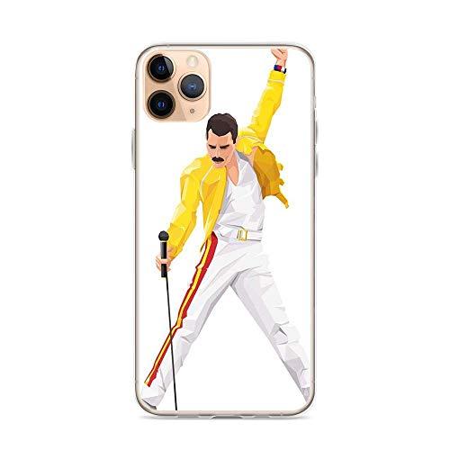 Freddie Mercury Sing Queen Rock Music Fan Compatible con iPhone 12/12Pro MAX 12 Mini 11 Pro MAX XR XS/XsMax SE 2020 7 8 6/6s Plus Samsung Series Funda Protectora
