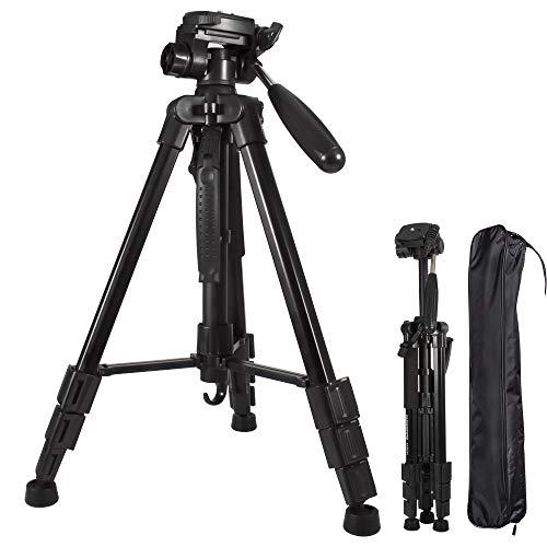 Stativ 140cm 55.1 inch, Leicht Aluminum Tripod für Kamera DSLR Canon Nikon Sony, Gopro, Handy Reisestativ mit Tasche, 360° Panorama Fotostativ mit 3-Wege-Drehgelenk Pan Head, Tragfähigkeit 4kg