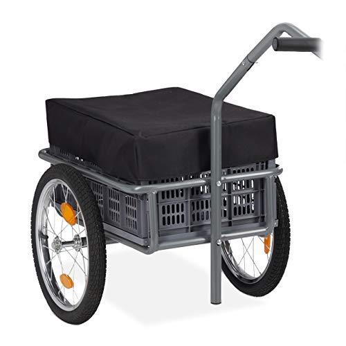 Relaxdays Fahrradanhänger, Lastenanhänger & Handwagen, faltbare Transportbox, Abdeckung & Kugelkupplung, bis 50 kg, grau
