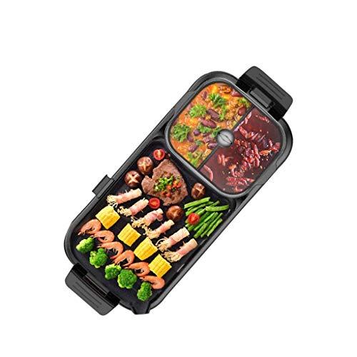 GZQDX Hot Pot Elektrische hot Pot, huishouden gegrilde visplaat, multifunctioneel, 2-in-1, elektrische hot pot grill, geschikt voor 3-10 personen