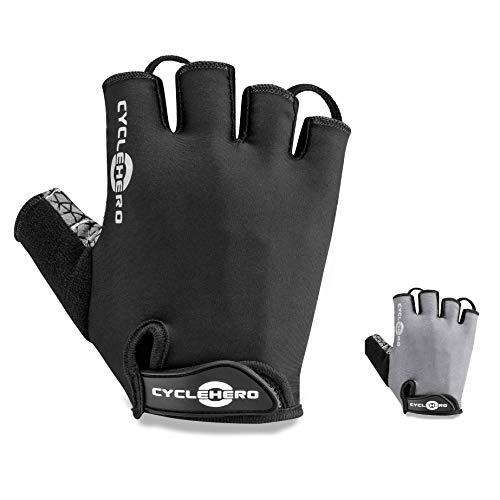 CYCLEHERO Komfortable Fahrradhandschuhe (Kurze Version) MTB Handschuhe, (schwarz, L)