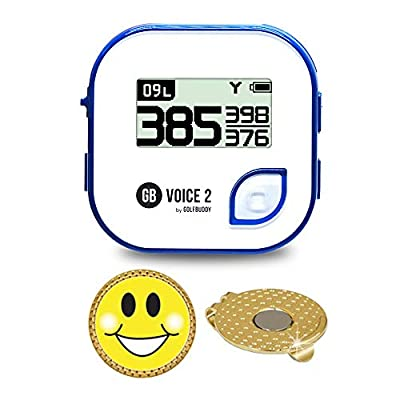 AMBA7 GolfBuddy Voice 2 Golf GPS/Rangefinder Bundle with Magnetic Hat Clip Ball Marker (Smiley Face)