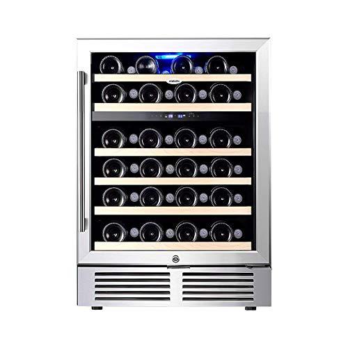Aneken 24'' Wine Cooler Refrigerator, 48 Built-in Dual Zone Intelligent Digital Built-in or Freestanding Wine Fridge Advanced Cooling System, Quiet Operation, Interior Light Larger Bottles 5.4 cu.ft