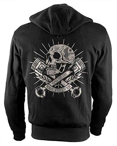 Rebel on Wheels Biker-Hoodie Motorrad-Hoodie Aramid Skull and Pistons Schwarz Kapuzen Jacke Motorrad L