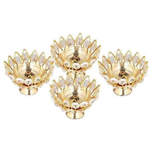 Kamal Öllampe mit Messingkristall, rund, Schalenform, tief, Akhand, Jyoti, für Zuhause, Tempel, Puja, Dekoration, Größe 10,2 cm, 4 Stück