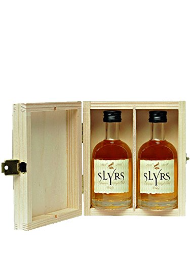 Slyrs Single Malt Whisky 2 x 0,05 Liter + Slyrs Holzkiste
