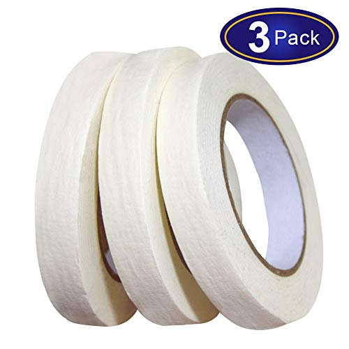 White Masking Tape 3 Pack, General Purpose Beige Painter's Tape 0.7inch x 60yard, 180 Yard In Total, For Painting, Labeling, Packing, Craft, Art, etc.