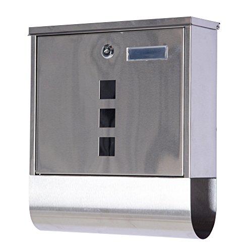 HOMCOM Buzón Exterior de Acero Inoxidable para Cartas Correo Postal con Rollo de Periódico Resistente al Agua con Cierre Montaje en Pared 30.5x9.6x33.5cm