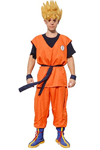 miccostumes Men's Saiyan Cosplay Costume Large Orange and Dark Blue