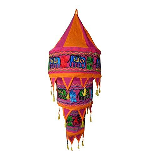 Indischer Lampenschirm Elefant Blume 75cm orange pink Baumwolle Dekolampe Orient Hängelampe