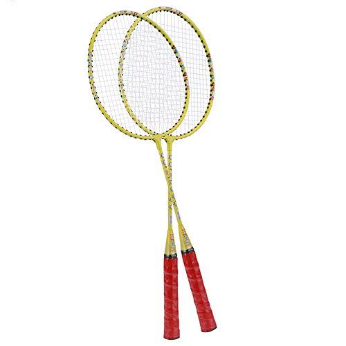 Keenso Kinder Badminton Schläger, süßes Design, Training Badminton Schläger, leicht, für Kinder zum täglichen Sport, einschließlich Premium Badminton Tasche(Gelb)