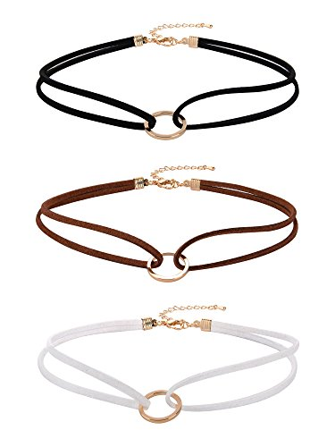 Mudder Velvet Gothic Choker Necklaces Double Layer Punk Chokers for Women and Girls, 3 Pieces
