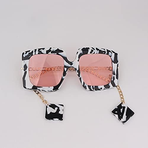 ShZyywrl Gafas De Sol Gafas De Sol De Lente Rosa con Marco Cuadrado Estilo De Cadena Femenina con Encanto De Mármol Entrelazado Co1