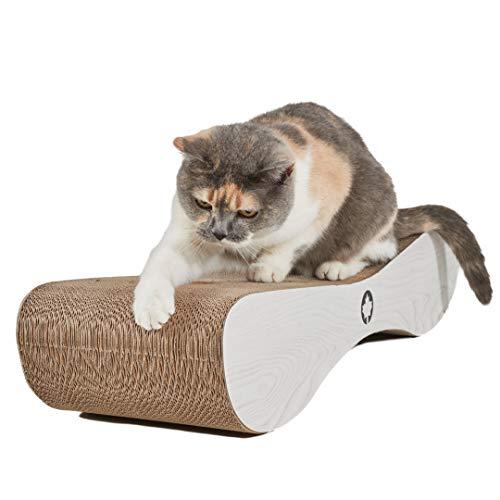 CanadianCat Company ® | XXL Kratzpappe Lounge | 76 x 24 x 15 cm | Kratzmöbel, Kratzbrett | Katzen Pappe +Katzenminze | weiße Holzoptik