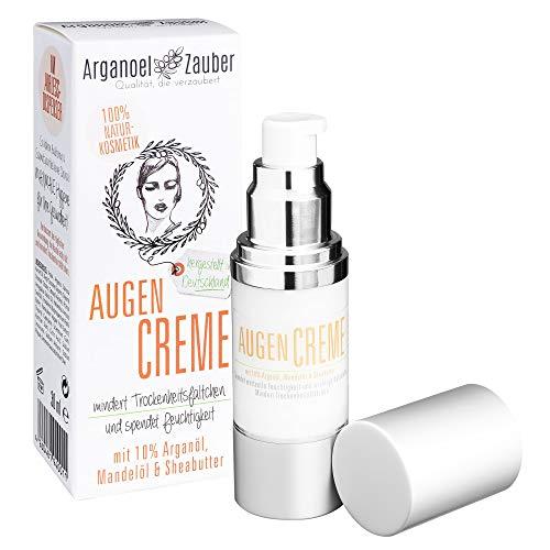 Arganoel Zauber Augencreme mit 10{39c6f61fa3c2448742dc9ca77920b8487ff09a41cf1aec76c95ff13463cba09f} Arganöl spendet Feuchtigkeit ohne zu reizen effektive Augenpflege gegen kleine Trockenheitsfältchen Naturkosmetik aus Deutschland 1 x 30 ml