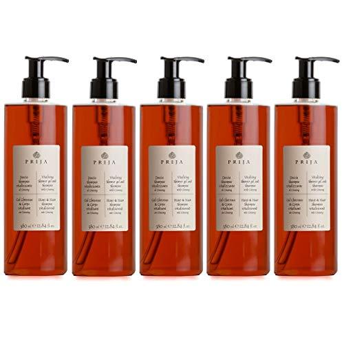 PRIJA Haut & Haarshampoo mit Ginseng 5x 380ml Duschgel Hair & Body Flakon