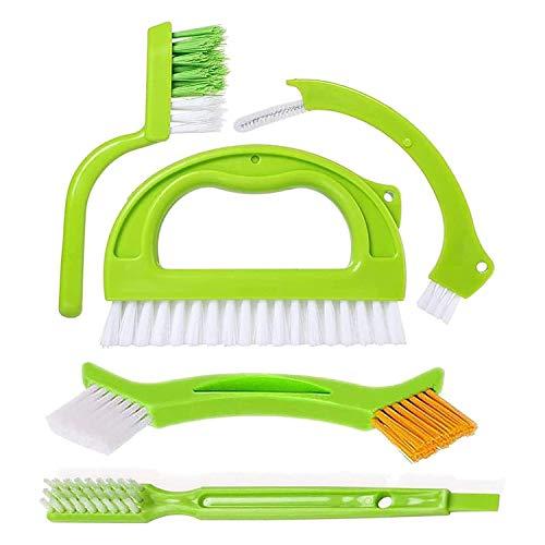 SUUER Cepillos para Azulejos para Lechada, (5 en 1) Cepillo Limpiador de Lechada, Cepillo para Fregar Juntas de Azulejos con Manejar, para Ducha, Cocina, Costuras, LíNeas de Piso
