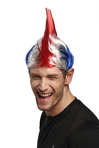 WIG ME UP ® - XR-012-PC13/P68/PC3 Perücke Fanperücke Fan Karneval Fasching Iro Irokese Mohawk Punk Tricolore Frankreich France Blau-Weiß-Rot
