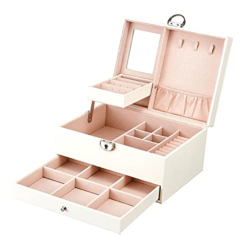 QFWM Caja de almacenamiento de relojCaja de joyería de cuero, caja de joyería de múltiples capas impermeable (tamaño: 22,5 x 17 x 12 cm; color: blanco)