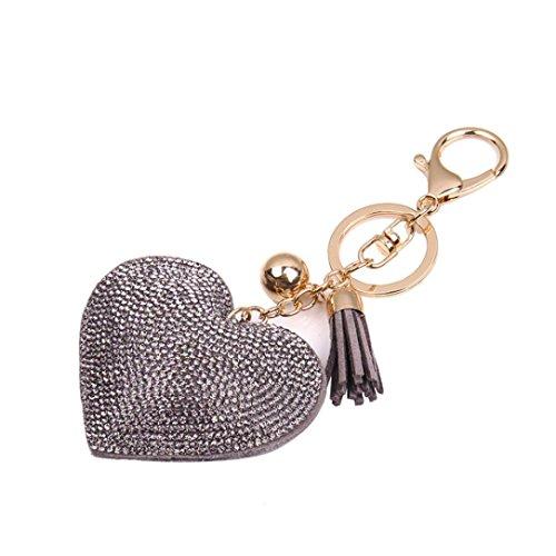 Novelty Key Chain, FTXJ Fashion Love Rhinestone Tassel Keychain Bag Handbag Key Ring Car Key Pendant (Gray)