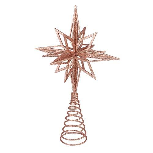 jojofuny Glitzernde Christbaumspitzen Weihnachtsbaum Topper Stern Metall Baumauflage Weihnachtsbaumdekor Roségold