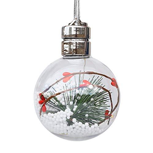 Teeyyui Luci Sospese per Decorazioni per Alberi di Natale, Ciondolo per Decorazioni Natalizie A LED, Palline di Natale Trasparenti per Decorazioni Natalizie (B)