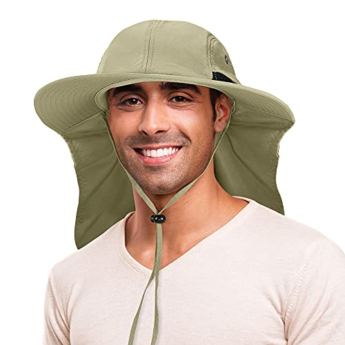Fishing Hat with Ear Neck Flap Cover Wide Brim Sun Protection Safari Cap for Men Women Hunting,...