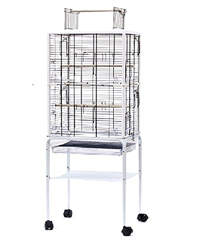 HYGRAD Extra Large White 131cm Metal Parrot Cage For Cockatoo/Parrot/Lovebird With Feeding Trays And Wheels