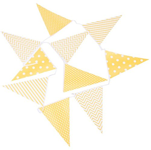 DISOK - Guirnalda Banderas Decorativas Eventos Papel Amarillo - Banderas, Banderitas, Guirnaldas Decorativas,decoración para Fiestas, Bodas, Cumpleaños, Celebraciones y Eventos
