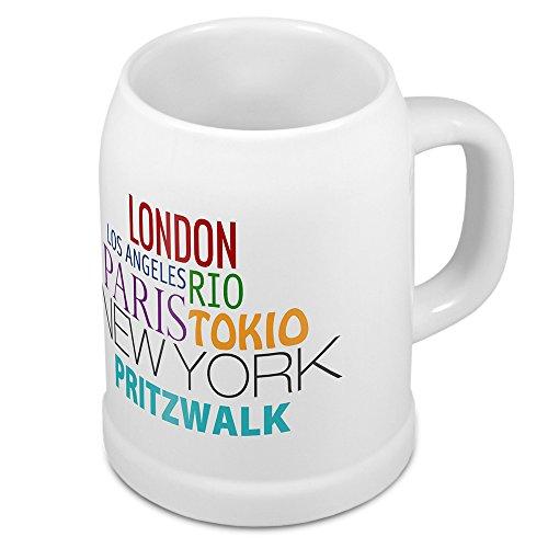 digital print Bierkrug mit Stadtnamen Pritzwalk - Design Famous Citys in The World - Städte-Tasse, Becher, Maßkrug