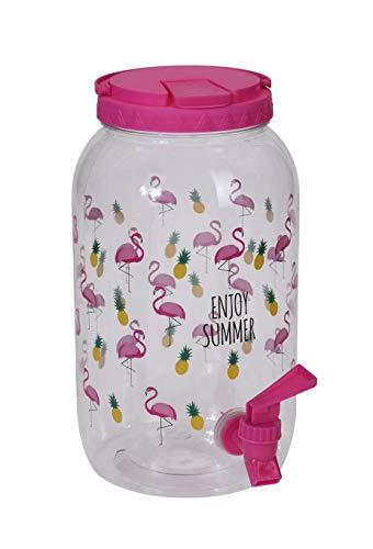 Meinposten. Saftspender Getränkespender mit Zapfhahn 3,75 Liter Kunststoff Wasserspender (Flamingos, pink)