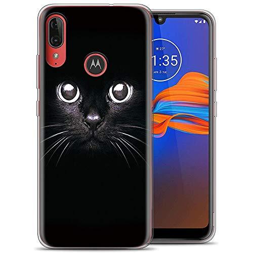 ZhuoFan Funda Motorola Moto E6 Plus, Cárcasa Silicona Transparente con Dibujos Diseño Suave TPU Antigolpes de Protector Piel Case Cover Bumper Fundas para Movil Moto G8 Plus, Gato Negro