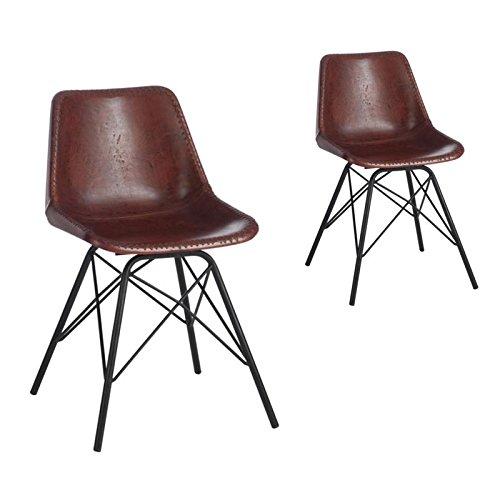 Tousmesmeubles Duo de chaises Simili Cuir Marron - Uranus - L 46 x l 49 x H 79 - Neuf