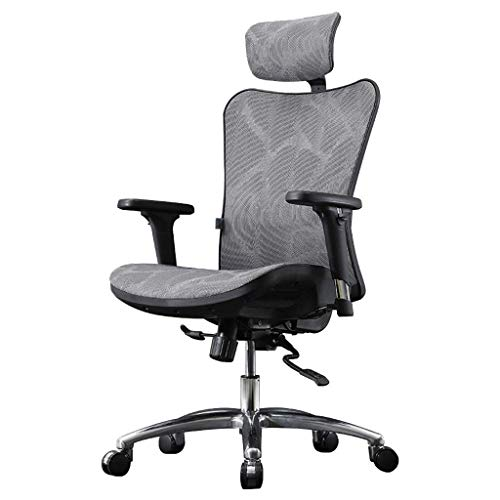 YUXIwang Silla de oficina para ordenador, silla ergonómica para el hogar, cómoda silla de oficina, silla de estudio, asiento deportivo, cómodo de carga de 200 kg, gris, 70 x 70 x 106 cm