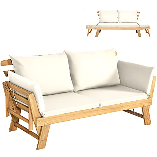 COSTWAY Outdoor Sofa Bed, 3 in 1 Convertible Cushioned Loveseat Lounger Couch with Folding Armrests and Pillows, Garden Patio Yard Wooden Recliner Chair Daybed (Cream)