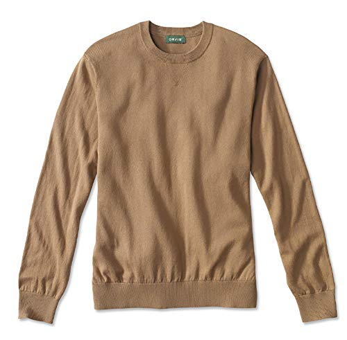Orvis Men's Cotton/Silk/Cashmere Crewneck Sweater, Dark Camel, Medium