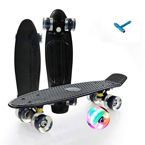 LAYBAY Skateboard para Principiantes Adultos y Niños, Mini Cruiser Retro Skateboard con All-in-One Skate T-Tool, Skateboard con 4 LED PU Ruedas