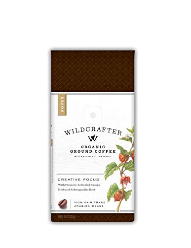 Wildcrafter Botanicals Organic Ground Coffee - Natural Focus & Creative Brain Booster Infused with Ashwagandha & Bacopa Herbal Blend. Includes 12 Ounces of Dark Roast Nootropic Ground Coffee