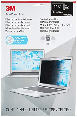 3M Privacy filter for 14 Inch Widescreen Laptop, COMPLY Attachment for Flip-Share, Reversible Gloss/Matte, Reduces Blue Light, Screen Protection, 16:9 Aspect Ratio (PF140W9B)