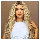 De longitud femenino rubia rizada peluca dos tonos marrón oscuro con raíces con sintético resistente al calor mirada natural Medio Parte pelucas for el uso diario de las mujeres del partido de...