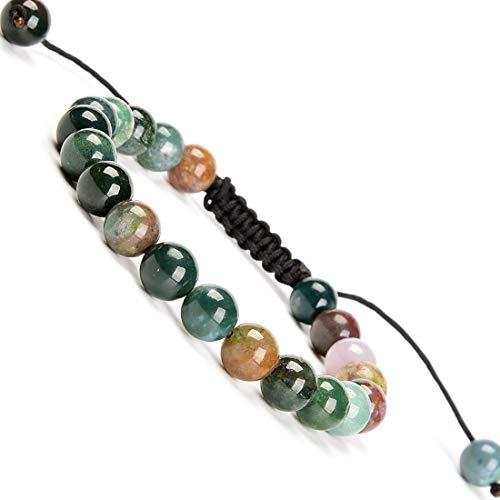 Massive Beads Men Women Natural Indian Agate Braided Macrame Bracelet 8mm Crystal Healing