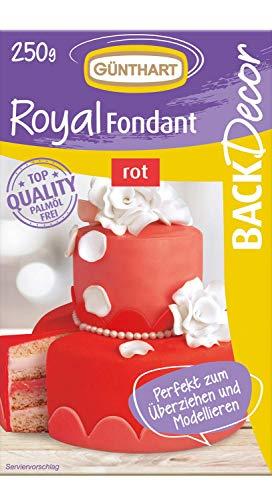 Günthart BackDecor Royal Fondant | Fondant rot | 250 gr | Palmöl frei | Modelliermasse | Liebe | Valentinstag | Muttertag