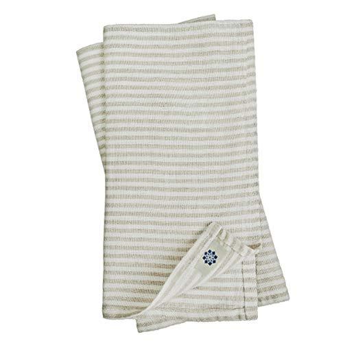 Linen & Cotton 4 x Vintage Rustikal Shabby Chic Stoffservietten Streifen Elegante - 100% Leinen, Weiß Weiss Beige (45 x 45cm) Servietten Stoff Leinenservietten Napkins Quadratisch für Haushalt Feste