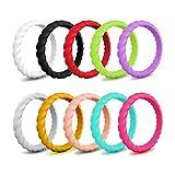 JewelryWe Lot de 10 bagues en caoutchouc silicone pour femme Multicolore Multicolore