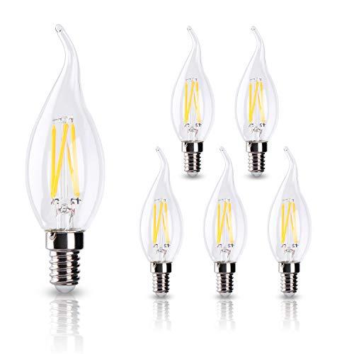 ELINKUME 6X Ampoule E14 LED à Filament Blanc Chaud - 6 Watts Edison LED, pas d'ombre, pas d'étourdissement, 2700K, 600lm Efficacités lumineuses