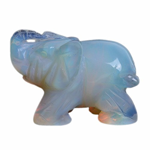 Justinstones Carved Opalite Moonstone Glass Elephant Healing Guardian Statue Figurine Crafts 2 inch