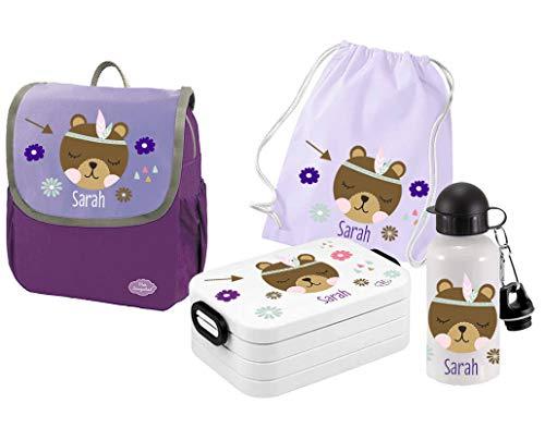 Mein Zwergenland Set 5 Kindergartenrucksack mit Brotdose, Turnbeutel und Trinkflasche Happy Knirps Next mit Name Indianer Bär Boho, 4-teilig, Lila