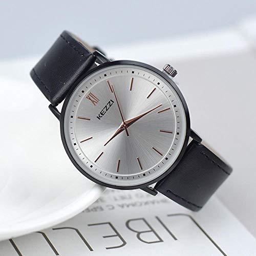 Powzz ornament Reloj hombres y mujeres impermeable gran dial casual pareja reloj reloj cuarzo cara blanca cinturón negro hombres